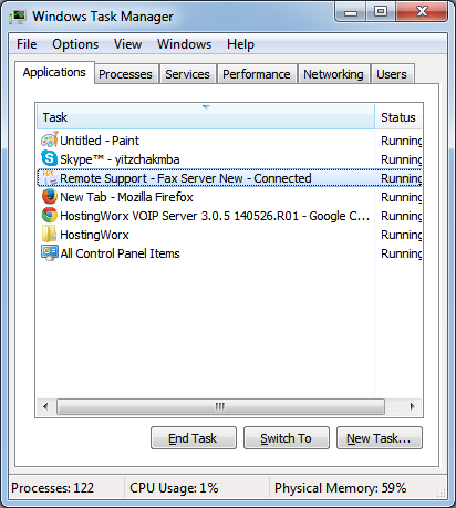 Hosting Remote Support Task Manager View